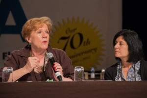Roberta Reardon, founding co-president of SAG-AFTRA and Georgi-Ann Bargamian, the Director of Education, UAW Community Services Department