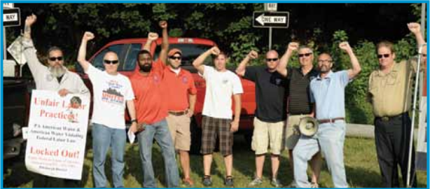 Putting it on the line in solidarity with American Water members. Left to right: Mike Esposito, Local 423; Jim Lewis, national rep; Phil Green, Local 640; Adam Chrnalogar, Local 121; Dasher Zsomboran, Local 395; Danny Seebeck, Local 121; Allan Bathon, Local 335; Kevin Booth, Local 537; Tom Schneider, Local 335.